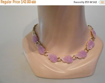 CLEARANCE 60% OFF Lilac Foliage in May - 1950s Lilac Lavender Lucite Leaves on a Choker Necklace