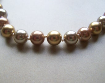 Gold Silver Copper Colored Tied Bead Necklace