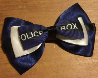 Doctor Who inspired (Tardis themed) Hair Bow (Dr Who)
