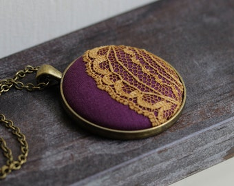 Purple and Gold Jewelry, Purple and Yellow Necklace, Mustard Yellow Lace Necklace, Boho Jewelry, Unique Gift, Round, Cute, Eclectic Necklace