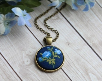 Small Navy Blue Pendant, Floral Fabric Cute Necklace, Navy Boho Jewelry, Blue And Green Jewelry, Hippie, Retro, Rustic Wedding, Tiny
