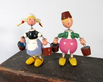 VINTAGE Nodder Bobble Head Jack & Jill Goula Carved Wood Painted Pair with Buckets 1970s Made in Spain Figure Collectible (F245)
