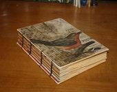 Robin Bird Journal, Bird Enthusiast book,  Bird watcher book, Wedding guest book, handmade Gift, vintage inspired journal, bound book
