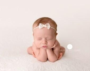 Newborn Headband, Baby Off White Bow, Newborn Props, Ivory Lace Headband, Vintage Headband, Baby Halo, Natural, Newborn Props, RTS