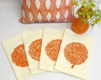 Hand Printed Flower Napkin - Hand Printed Orange Dahlia Flower Napkin