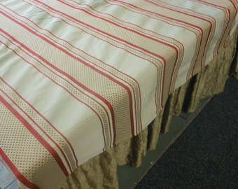 Handmadecotton stripe tablecloth red and cream stripe tablecloth 54 by 74 inches oblong