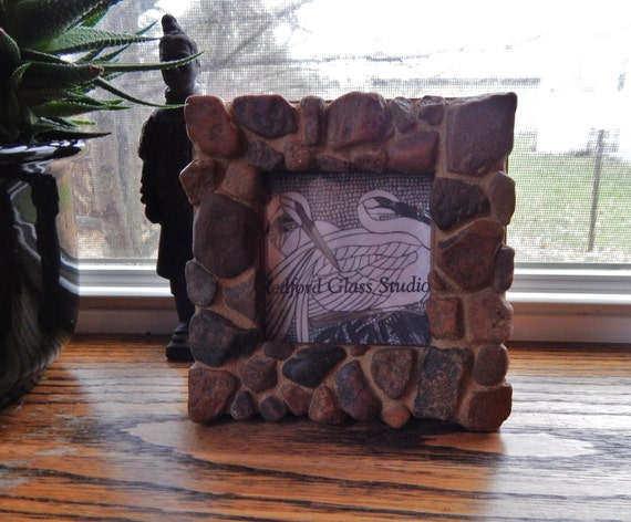 Natural River Stone Mosaic Picture Frame 3x 3