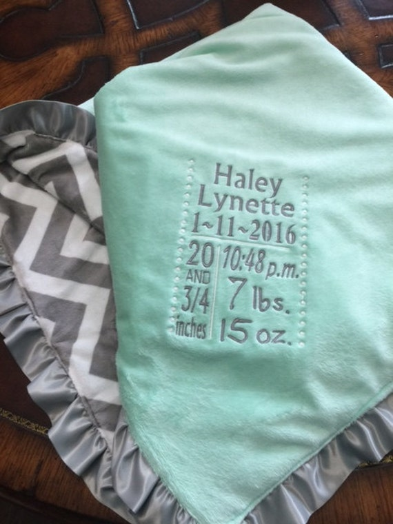 Baby Birth Stats Announcement Blanket Gray Chevron And Mint