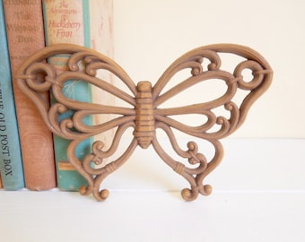 Molded Plastic Butterfly, Faux Rattan, Vintage Wall Decor, Medium 4.50 each
