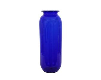 """Blenko Art Glass Floor Vase #8137M Cobalt Blue LARGE 19.5"""" high Mid-Century Modern"""