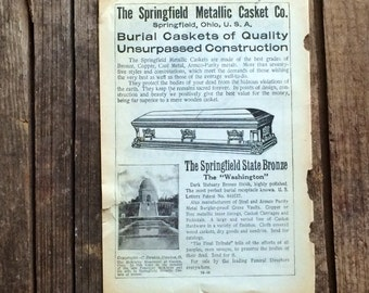 Casket Co. Antique Ad Springfield Metallic Caskets
