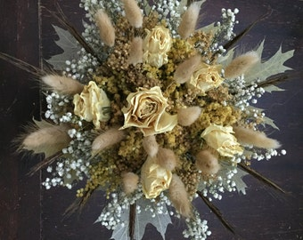 Natural Dried Wedding Bouquet  -  Romantic Vintage Wheat Preserved Rose Champagne Blush Feather Brooch Fall Autumn