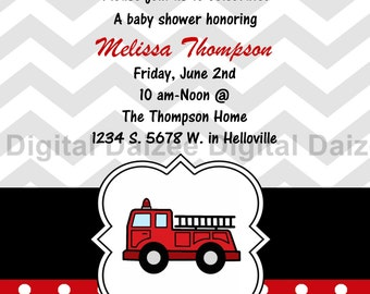 Personalized Firefighter Baby Shower/bday invite