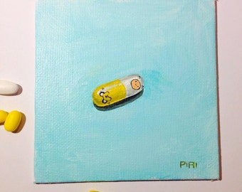 SALE. 50% OFF. Mathematical - Original Painting. Day 99. Art by Lilly Piri. Adventure time. Jake, Finn, pill.