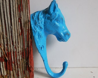 HORSE hook Hanger Cast iron hardware Rustic wall decor Supplies steed equestrian bridle tack blue white black