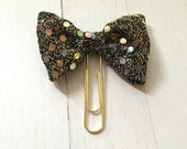 Black w/Gold Sequin Bow (jumbo gold paperclip)