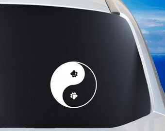 Paw Yin Yang Decal - Dog Paw Vinyl Decal - Car Window Vinyl Sticker - Paws YinYang Sticker - Yin Yang Paw Decal - Puppies Paw Decal - Vinyl
