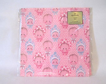 oh, baby! vintage 1970s pink & blue HALLMARK wrapping paper - 2 pks, over 16 sq feet of gift wrap - Baby Shower, 1st Birthday, New Baby