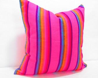 Cinco de Mayo Tribal pillow cover 18x18, Pink Cushion,  Pillow Covers, Bohemian Decor, Boho Bedding, Mexican Cushion,  tribal pillowcase