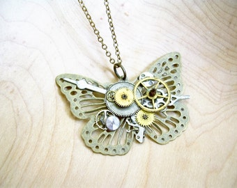 Steampunk Butterfly Necklace ~ Long Necklace, Watch Gears, Gift for Her
