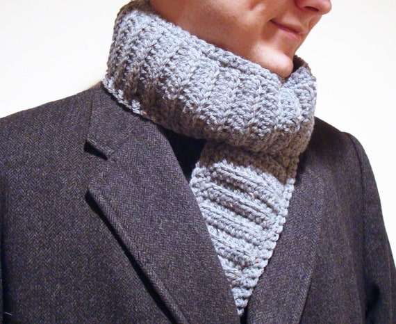 Men's Gray Tweed Scarf ~ Crochet, Neckwarmer, Boy's Scarf, Gift for Him