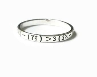 I <3 U ring, I heart u, I love you ring, algebra love equation, love formula, math geek nerd gift sterling silver