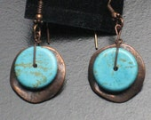 Real Turquoise and Copper Metal Earrings