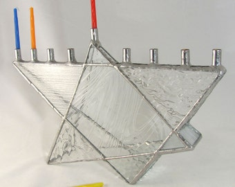 Clear Texture Hand Crafted Stained Glass Star of David Chanukah Menorah