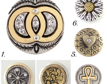 Snap Charms for Snap Jewelry, 20 mm Brass & silver tone snaps will fit Ginger Snaps jewelry, Noosa and other regular style snap jewelry