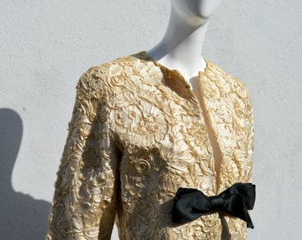 Vintage 50's short cropped PAUL WHITNEY jacket all ribbon floral pattern  classic mid century fashion design sM by thekaliman