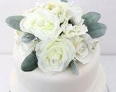 Wedding Cake Topper - White Rose, Anemone, Lamb's Ear Silk Flower Cake Topper, Fake Flower Topper, Wedding Cake Flowers, Wedding Cake Decor