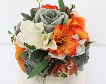 Wedding Cake Topper - Powder Blue, Orange and Ivory Rose and Hydrangea Silk Flower Wedding Cake Topper, Wedding Cake Flowers