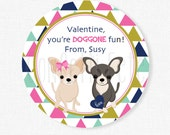 Valentine's Day Puppy Tags, You're DOGGONE Cute, Chihuahua Valentine Tags, Dog Valentines, Girl Valentines Personalized
