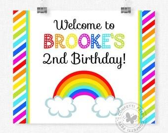 Rainbow Welcome Sign, Rainbow Party Decorations, Rainbow Birthday Sign, Colorful Girl Birthday, Printable 8x10 Sign