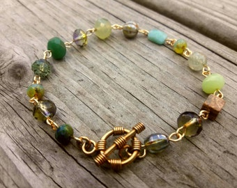 Stone,Glass And Gold-Plated Bracelet