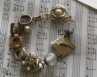 Vintage pearl gold earrings assemblage chain bracelet~junk gypsy jewelry~ooak~recycled bracelet~bohemian jewelry