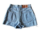 back to school sale // Vintage 90s ESPRIT Denim Cut Off Shorts // Women Small // high waist jeans