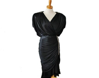 CIJ 40% off sale // Vintage 70s Does 30s Black Satin Rhinestone Dress // Women Medium // made in America, formal, prom