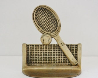 BLOWOUT 40% off sale Vintage 60s Brass Tennis Racket Single Bookend Figurine - sporty, library decor