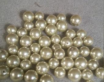 Faux Glass Pearls - Light Moss Green
