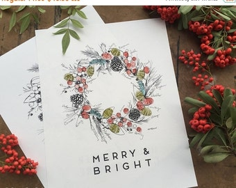 ON SALE Thumbprint Guest Book, Alternative Guest Book, Holiday Holly Wreath, Limited Release, Like Fingerprint Tree (w/ 2 mini ink pads and