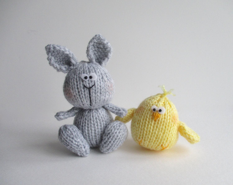 Knitting Toy Patterns : Bunny and Chicky toy knitting patterns