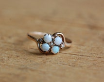 Vintage delicate 10K opal cluster ring with seed pearls