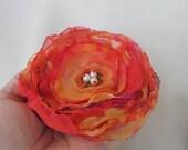 Orange Singed Flower Pin