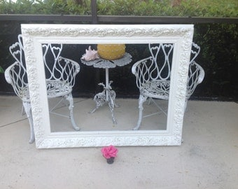 4 Foot Long VINTAGE SHABBY CHIC CARVEd Frame / Chippy White Frame / Romantic Wedding Frame / Paris Apt Style at Retro Daisy Girl
