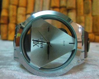 Mens Leather watch Triangle Watch Silver Bracelet Antique Watch- brown leather retro Watch- bracelet Watch- Men's wrist watch