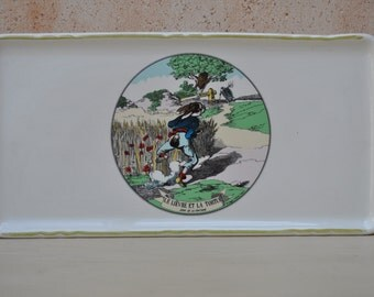 Vintage French Orchies Sandwich Plate - The Hare and the Tortoise - Fables de la Fontaine