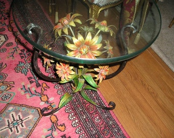 Vintage Colourful fall Flowers Italian Tole Painted Rustic Cottage Chic/Romantic Farm House Table/Stand