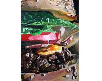 Hamburger Art Print, Food Painting, Kitchen Art, Dining Room Art, Art for Restaurant, Art for Diner, Gift for Brother, Housewarming Gift
