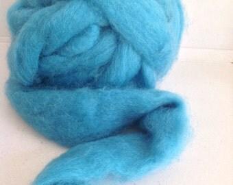 TURQUOISE SCOTTISH Romney WOOL Roving - Great for needle & wet felting
